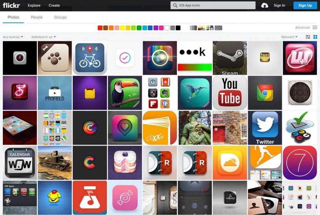 """Результат поиска в Flickr по запросу """"iOS App Icons"""""""