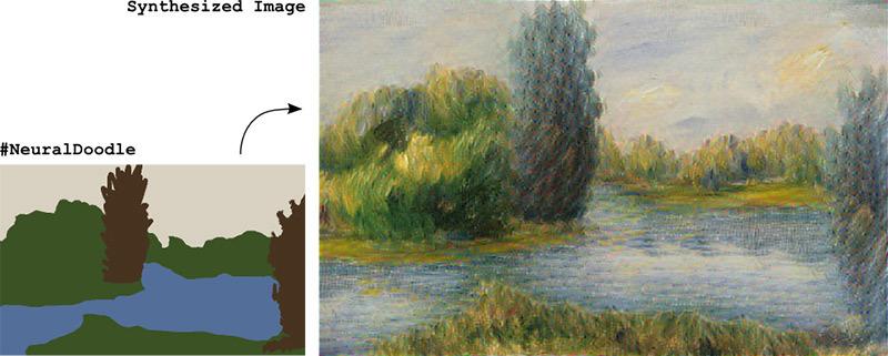 Картина, нарисованная нейросетью по простому эскизу. Впечатляет?