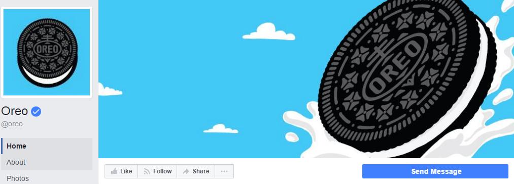 Шоколадное печенье справа нависает над кнопкой на странице Oreo