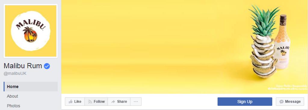 Ничего лишнего на странице Malibu Rum и около 2,4 млн. поклонников