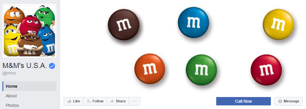 M&M's U.S.A. использует единую цветовую палитру, акцентируя внимание пользователя на профиль. У страницы более 10,6 млн. подписчиков