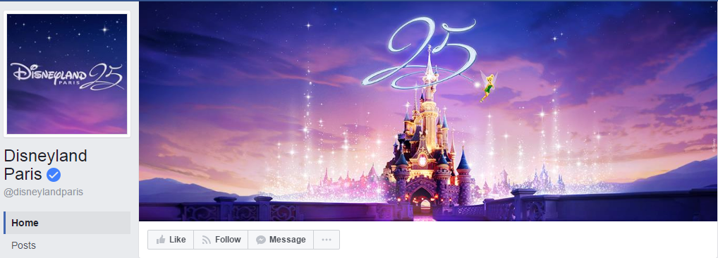Дизайн этой страницы Disneyland Paris выполнен в едином стиле. Более 3,1 млн. подписчиков