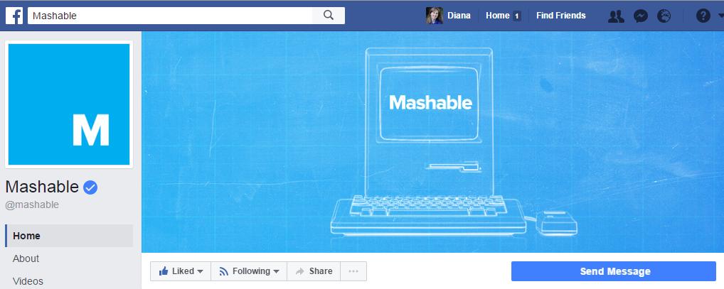 """Всего 2 цвета использует новостная компания Mashable на обложке и насчитывает более 4,8 млн. отметок """"Нравится"""""""
