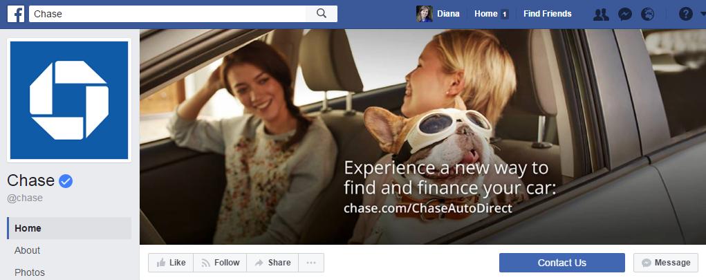 3,6 млн. подписчиков у финансовой компании Chase на фейсбуке