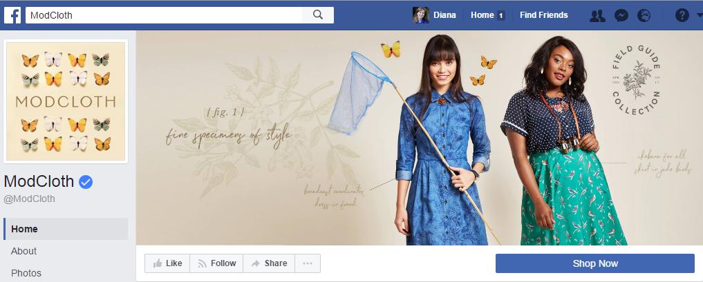 ModCloth анонсирует новую весеннюю коллекцию не только на обложке, но и в профиле фейсбук. 1,4 млн. подписчиков у этой страницы