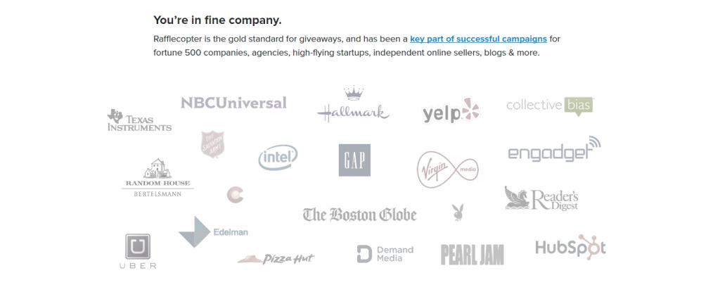 Пример упоминания известных брендов на лендинге от Rafflecopter.  https://www.rafflecopter.com