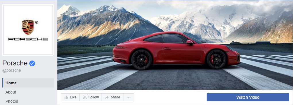 On the Porsche company page, the blue button calls you to watch a video.