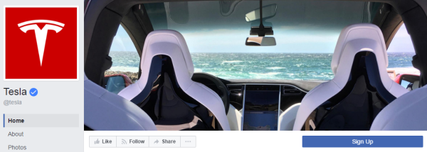 The Tesla page cover has attracted 12 thousand likes since June 2016