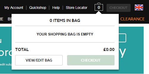 Так выглядит иконка для совершения покупок на британском сайте Next