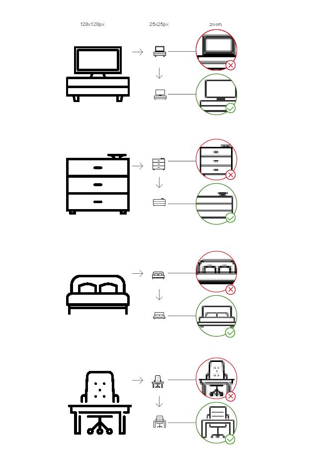 При скалировании ясность иконки теряется и пользователь не может отличить похожие образы