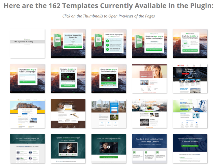 These are the templates you'll find in Thrive
