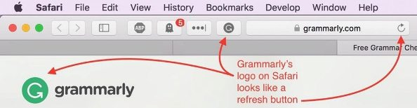 This grammar-checking button can be confused with the refresh icon