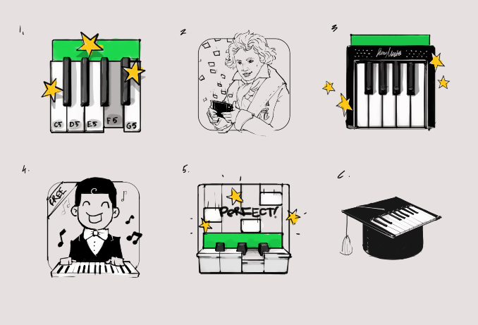 These are the concepts we offered to our customer for their application, which teaches users to play piano in a gamified form