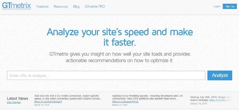 GTmetrix быстро анализирует любой сайт, выявляет распространенные проблемы с производительностью. На полный анализ сайта уходит около минуты.