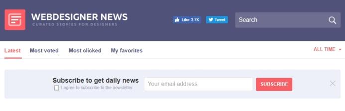 Например, форма подписки на Webdesigner News состоит всего из одного поля и кнопки «Подписаться». А зачем больше?