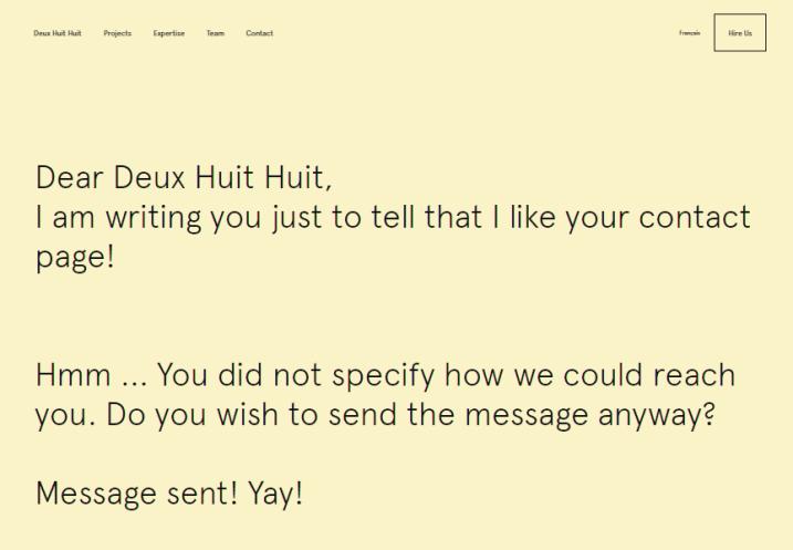 """Курсор сам начинает писать от вас письмо, заполняя первую строку фразой """"Dear Deux Huit Huit,"""". И вы уже сами не замечаете, как написали и отправили сообщение."""