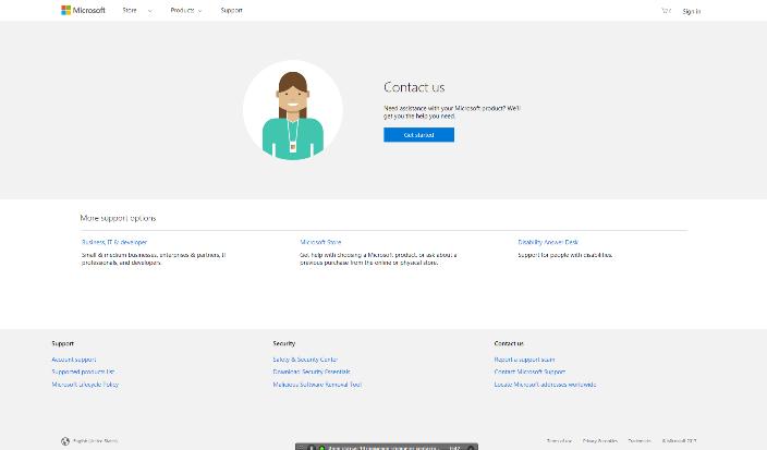 Так выглядит страница контактов Microsoft.
