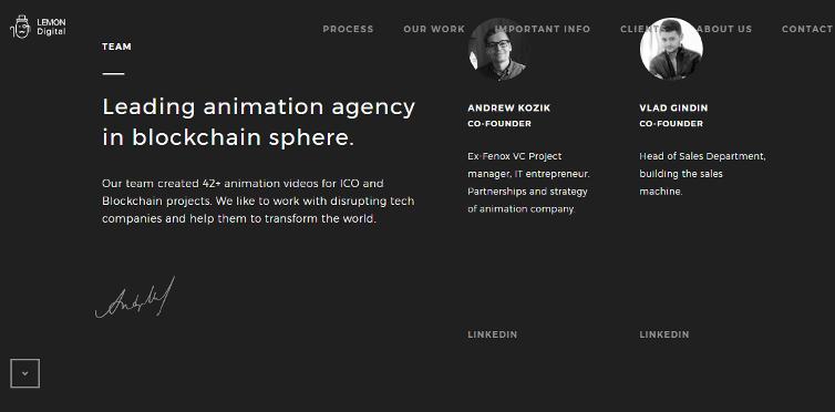"""Совсем мало написано. Но показаны лица компании, написано, кто чем занимается, указано, сколько проектов сделано и в чем есть экспертиза. Единственное, что хочется поменять, это общую фразу """"Leading agency"""". Не понятно, почему оно ведущее. Кого и куда ведет это агентство?"""