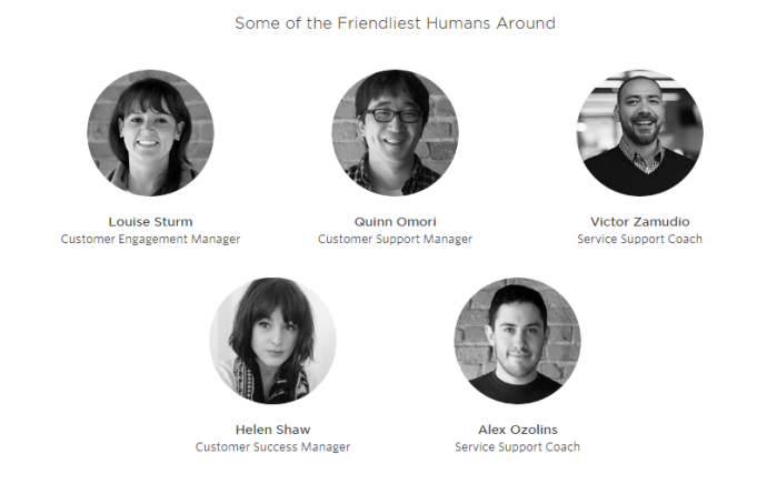 "Photos of the office and the faces of ""the most friendly people"" from different support departments - this is why this contact us page design is attractive."